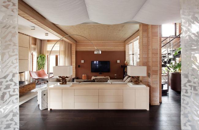 имитация бруса: фото, внутренняя отделка (двухуровневая квартира - студия с частичной отделкой имитацией бруса)