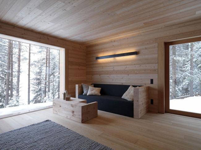 Комната для отдыха с отделкой фальшбрусом