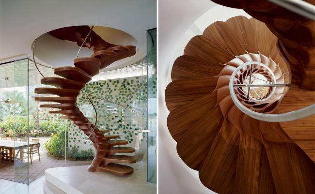 """""""Spinal"""" конструкция - смелый выбор для современного дома. Такой принцип проектирования лестницы, с заимствованием из природы анатомии позвонков, - популярен в проектировании винтовых и прямых одномаршевых лестниц"""