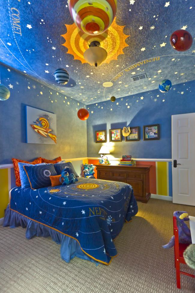 Стилизованная детская комната с люстрами в форме планет