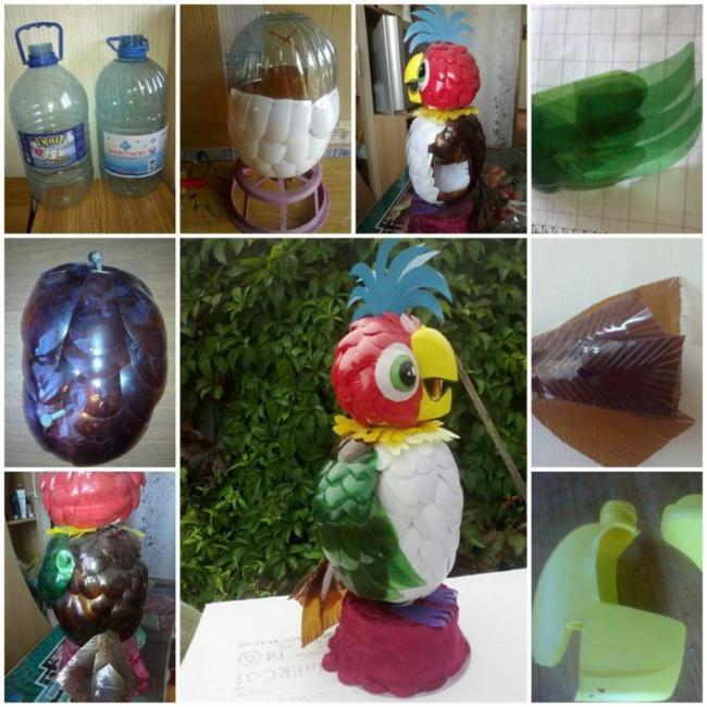Поделка для садового или газонного декора: попугай из пэт тары