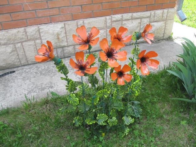 Великолепные оранжевые цветы из пэт тары