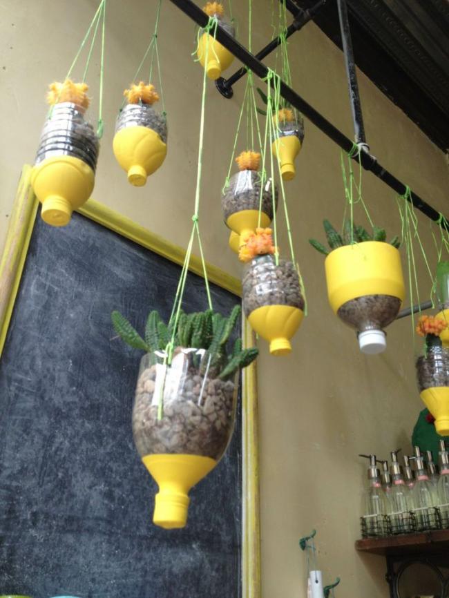 Красивые подвесные горшки из пластиковых бутылок не только украсят ваш интерьер, но и сделают его уникальным