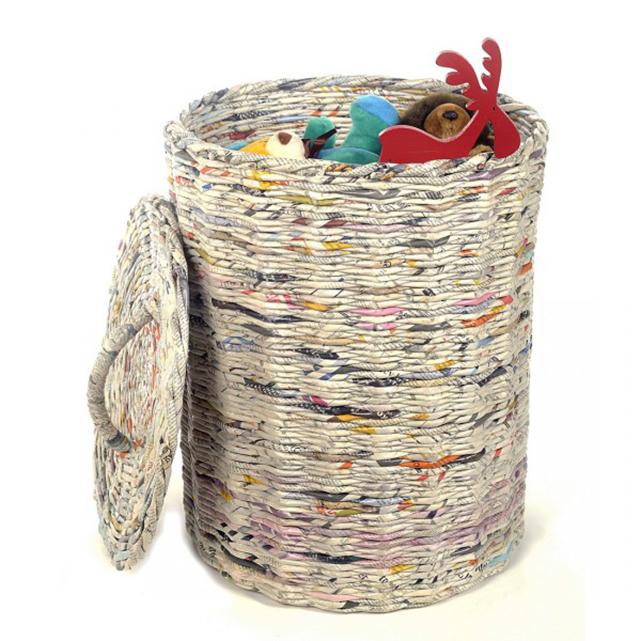 Плетение из газеты круглая корзина