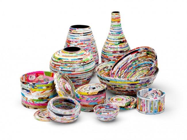 Вазы, пиалы, коробочки для хранения вещей - эти и другие декоративные поделки можно создать при помощи газетных и журнальных трубочек