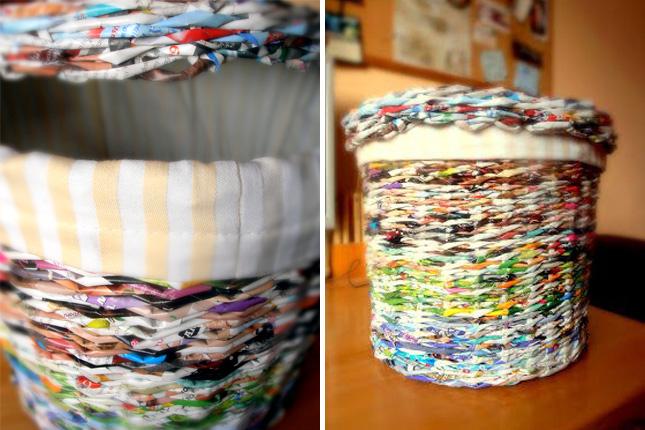 Корзина из газеты с текстильным чехлом внутри