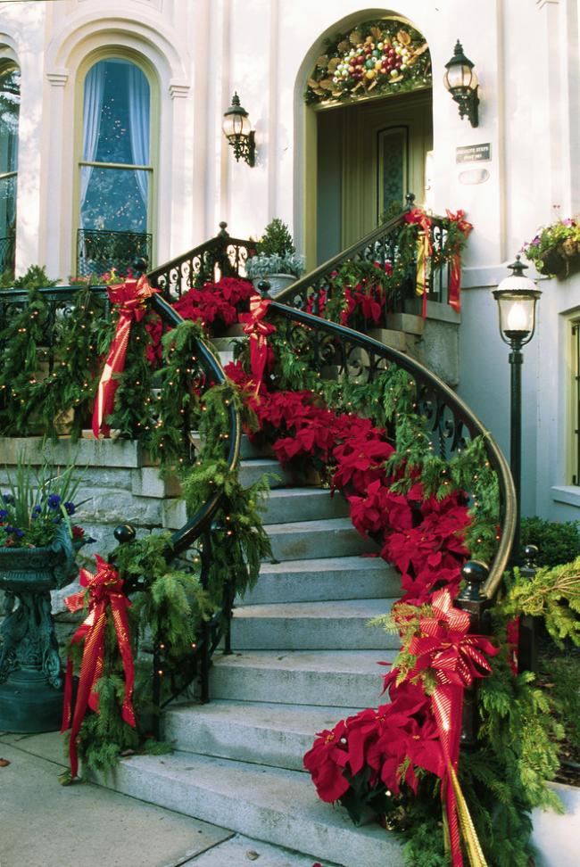 Американская традиция: украшение пуансетией входной лестницы