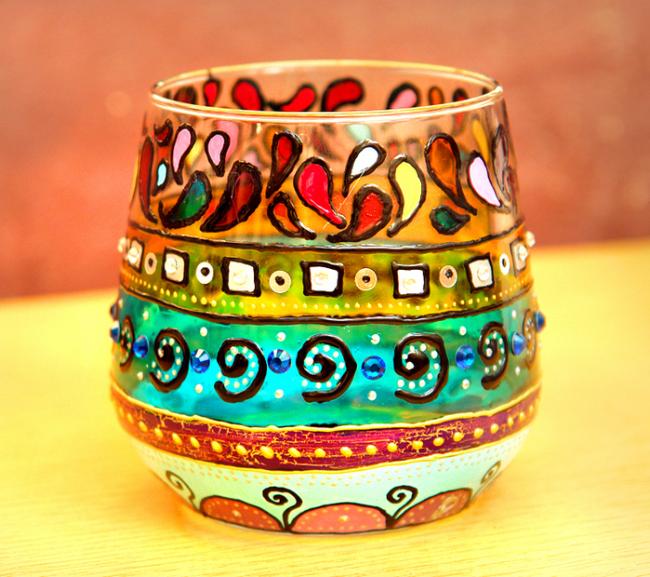 Роспись витражными красками в этно стиле