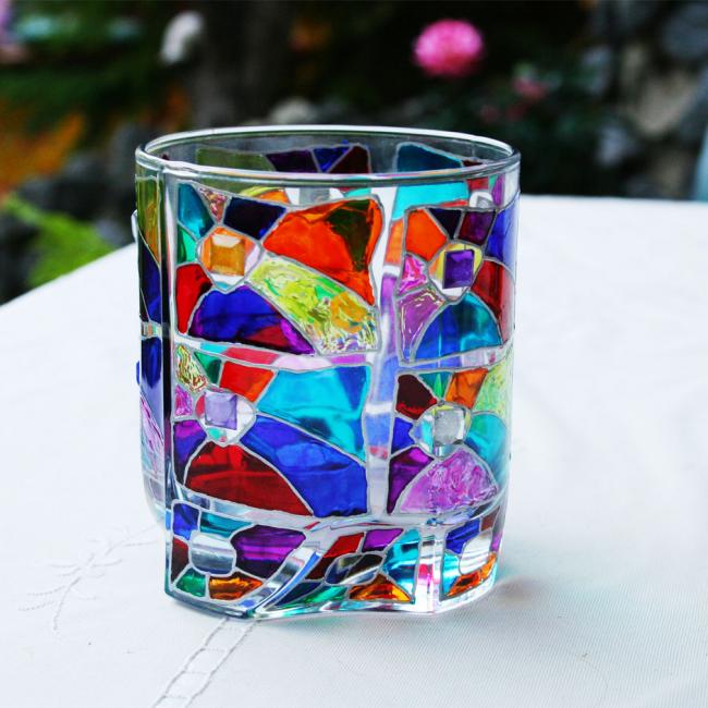 Декор стакана под виски витражными красками и бусинами