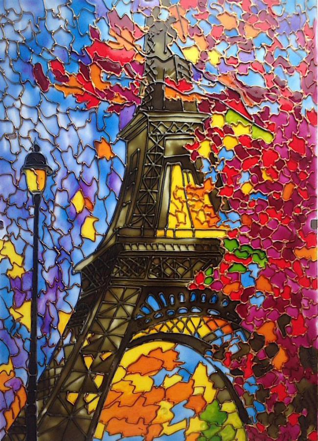 Картина на стекле с изображением эйфелевой башни витражными красками