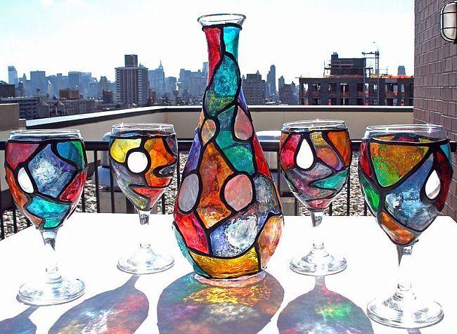 Оригинальный набор кувшина с бокалами в ярких красках