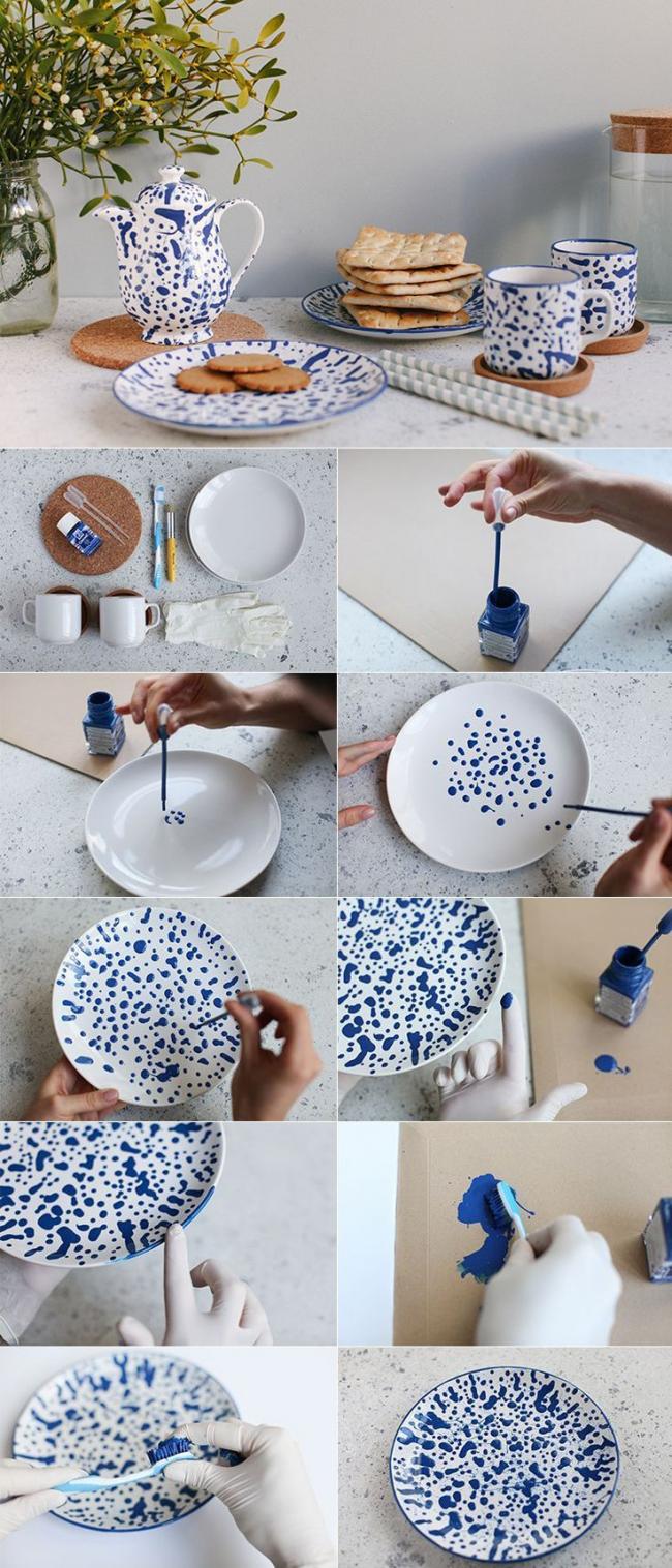 Еще один вариант ручной росписи посуды, очень легкий и быстрый способ обновить старый скучный сервиз