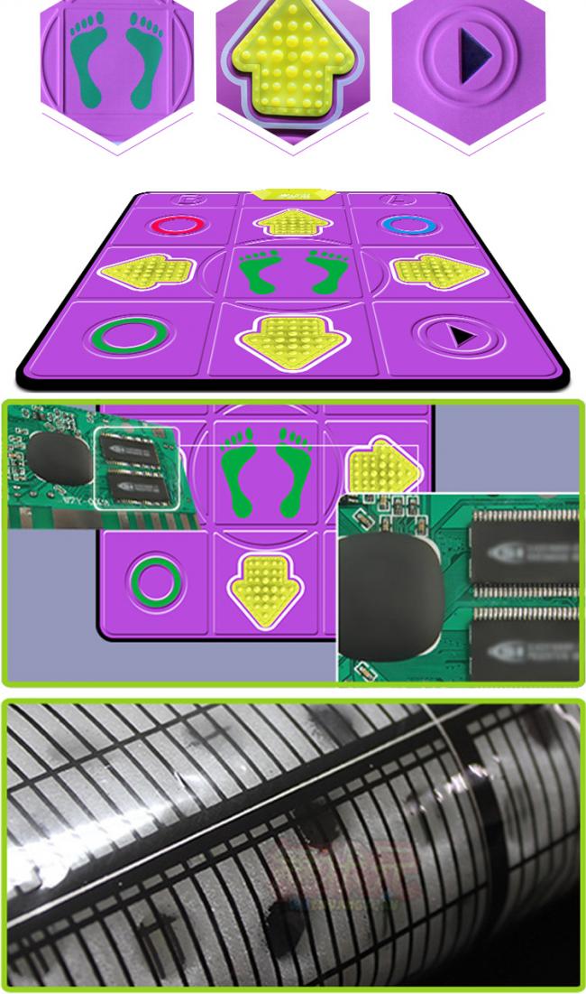 Составляющие танцевального коврика: основа, кнопки, микропроцессор