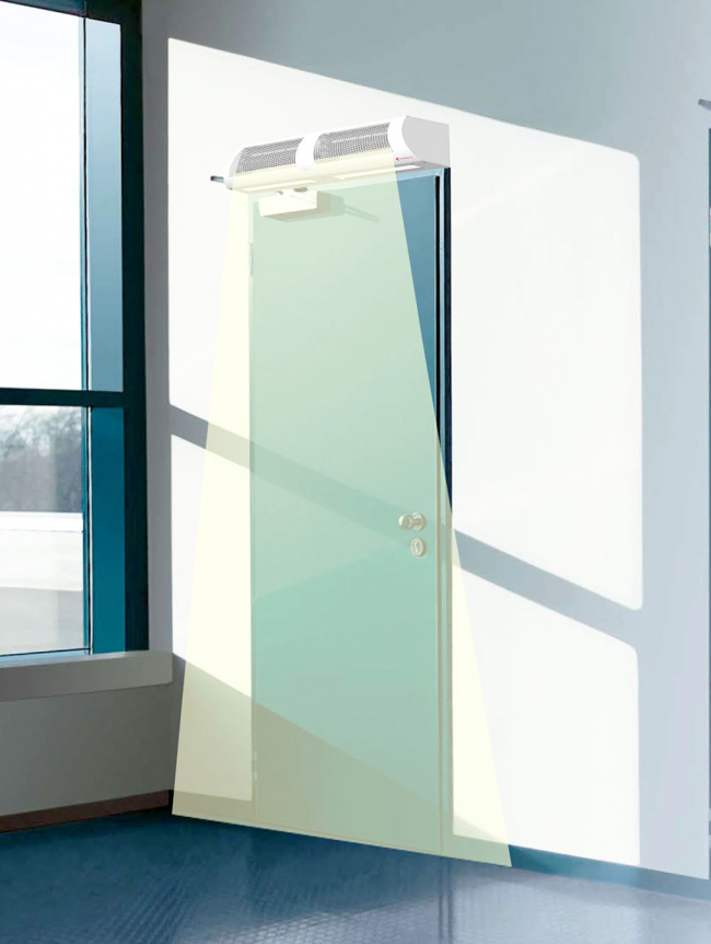 Воздушная завеса производит направленный потом воздуха, скорость этого потока зависит от вентилятора, используемого для нагнетания