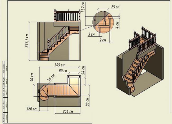 Проект деревянной трехмаршевой лестницы для двухэтажного коттеджа