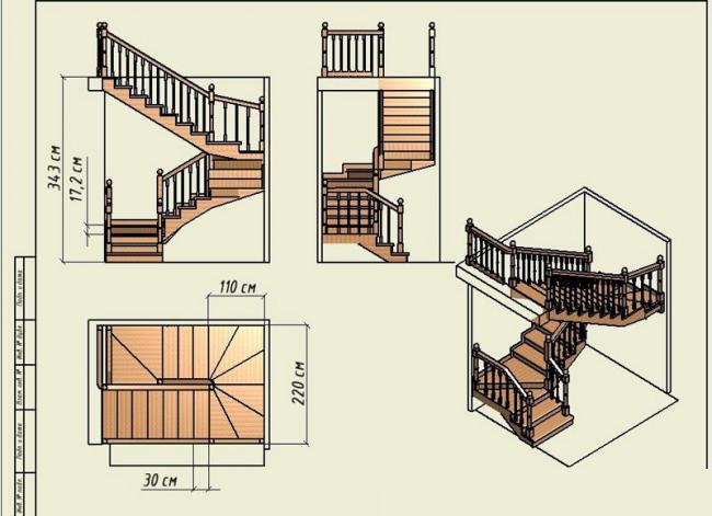 Проект трехмаршевой лестницы позволяет определить, как она будет располагаться в пространстве комнаты