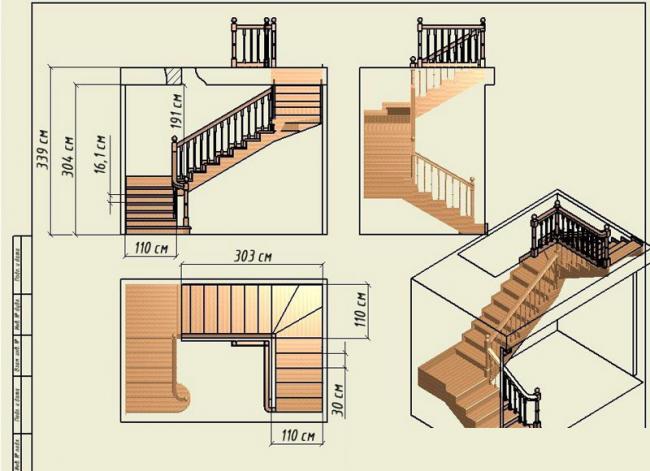 Проект трехмаршевой лестницы для дома общей площадью 57.1 м2