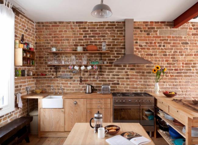 Светлый ясень на кухне в стиле лофт