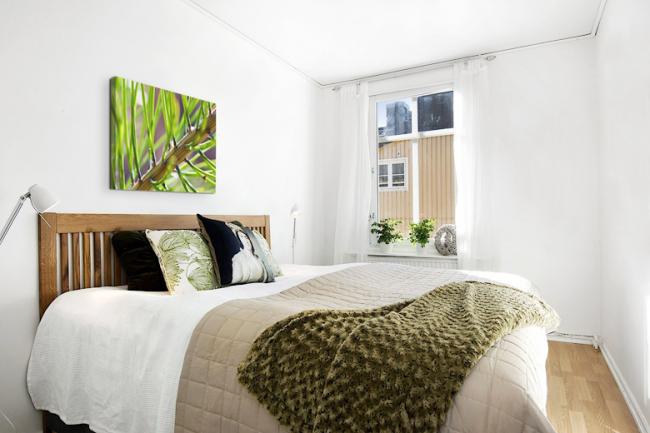 3D картина живой природы в светлой спальне