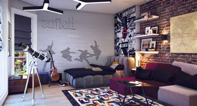 Комнату мальчика подростка можно украсить постерам или граффити, если он подобным увлекается