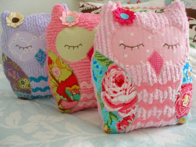 Милые детские подушечки в виде совушек