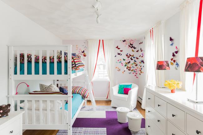 Цветные бабочки из бумаги для декорирования стен детской комнаты
