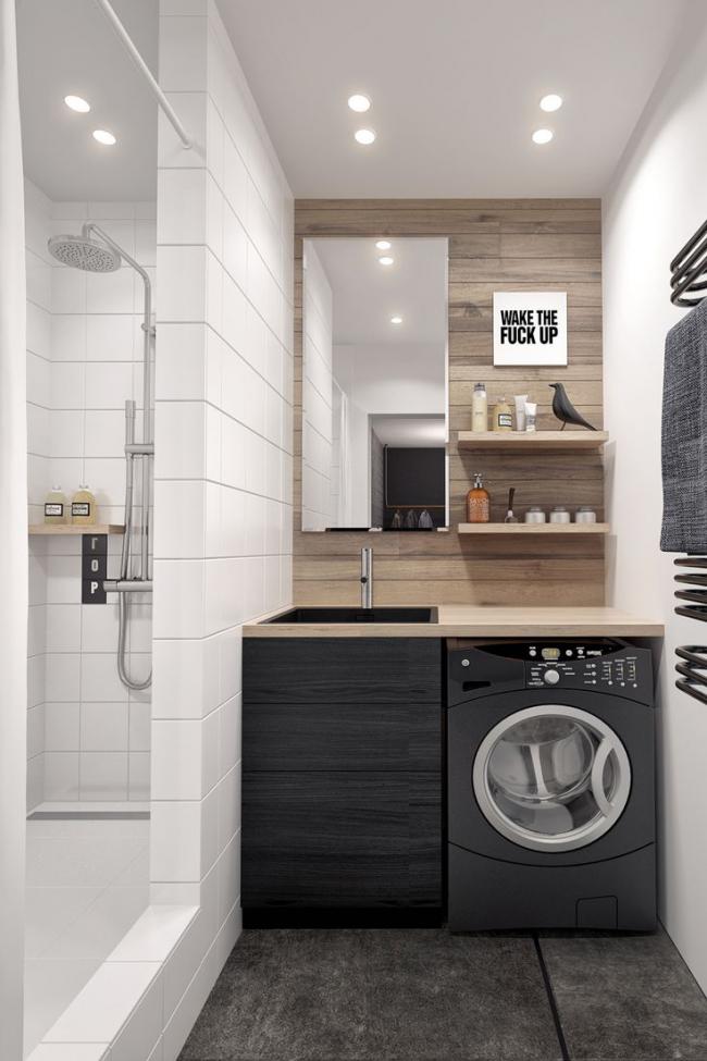 Удобное расположение стиральной машины под столешницей в ванной комнате