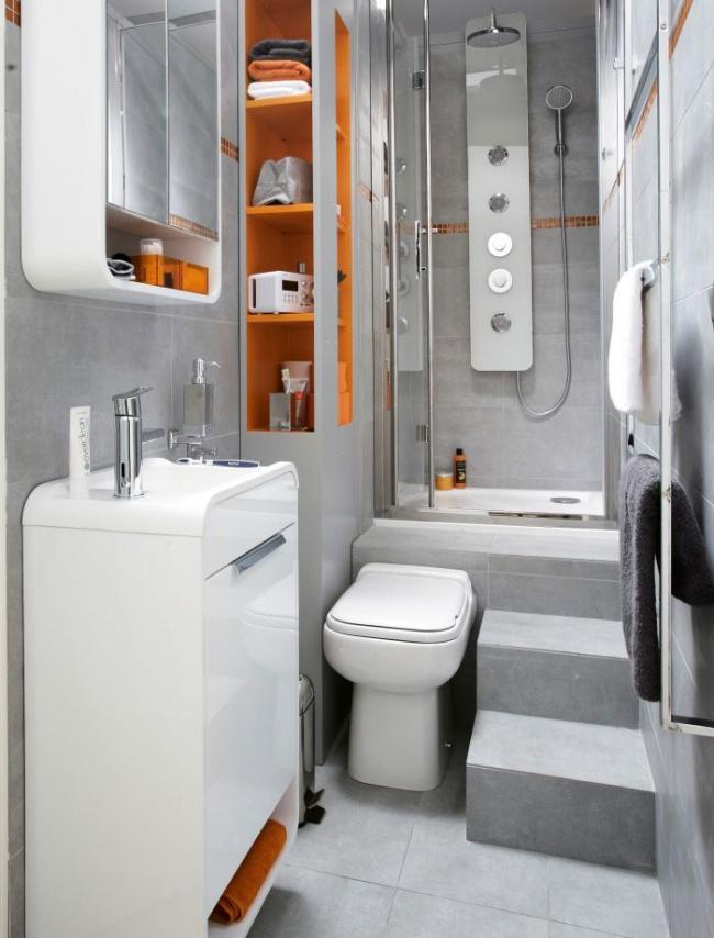 Маленькая, но очень комфортная ванная комната в стиле хай-тек