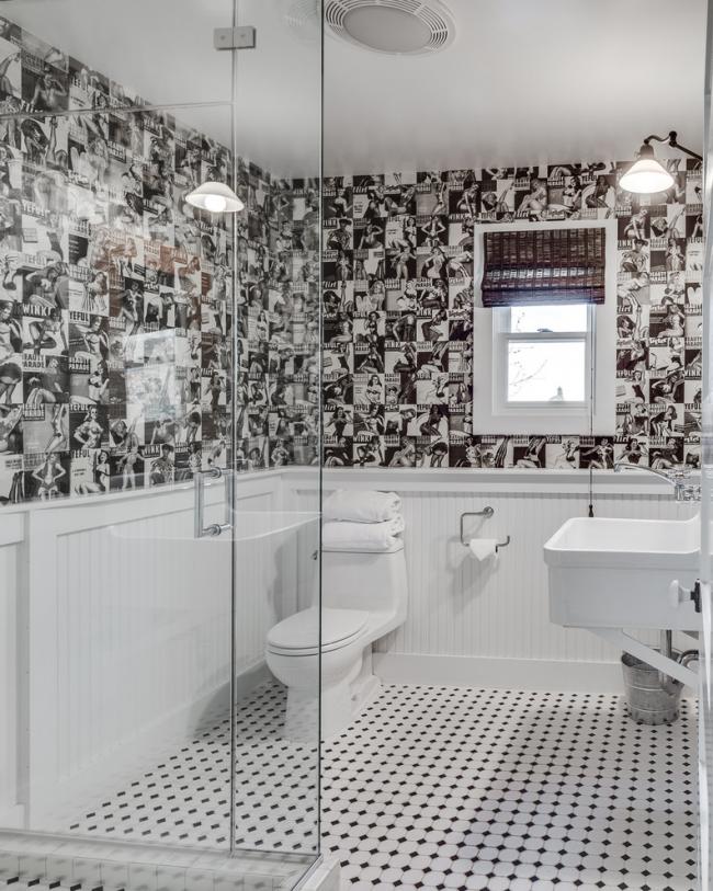 Стильный черно-белый интерьер гигиенической комнаты