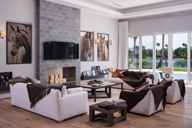 Гостиная в стиле модерн с каменным фальш-камином