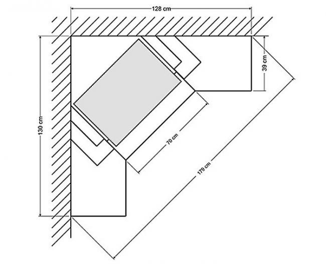 Схема углового каминного портала