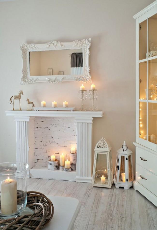 Романтическая обстановка в светлой комнате, наполненной свечами