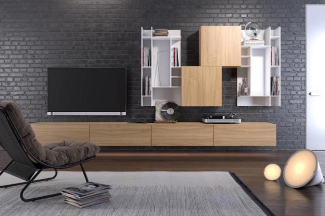 Корпусная мебель из контрастного материала, занимающая совсем немного места