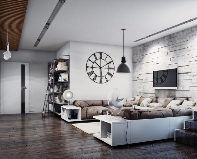 Черно-белые линии интерьера гостиной подчеркивают цветовую выдержанность техно стиля