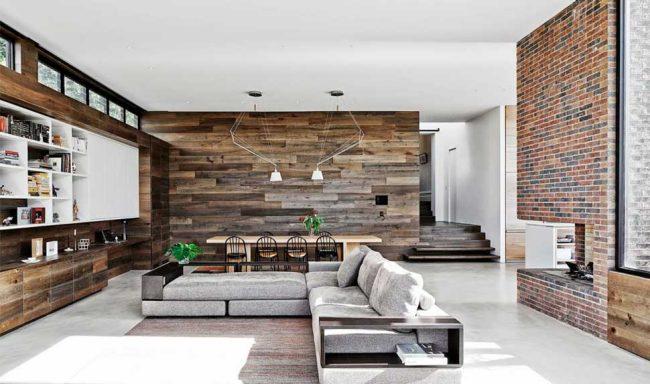 Отделка гостиной и корпусная мебель из природных материалов