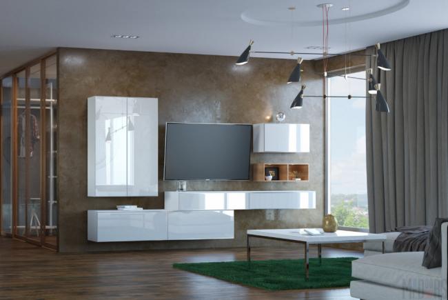 Элементы корпусной мебели разного размера и расположения помогут гостиной приобрести необходимую форму