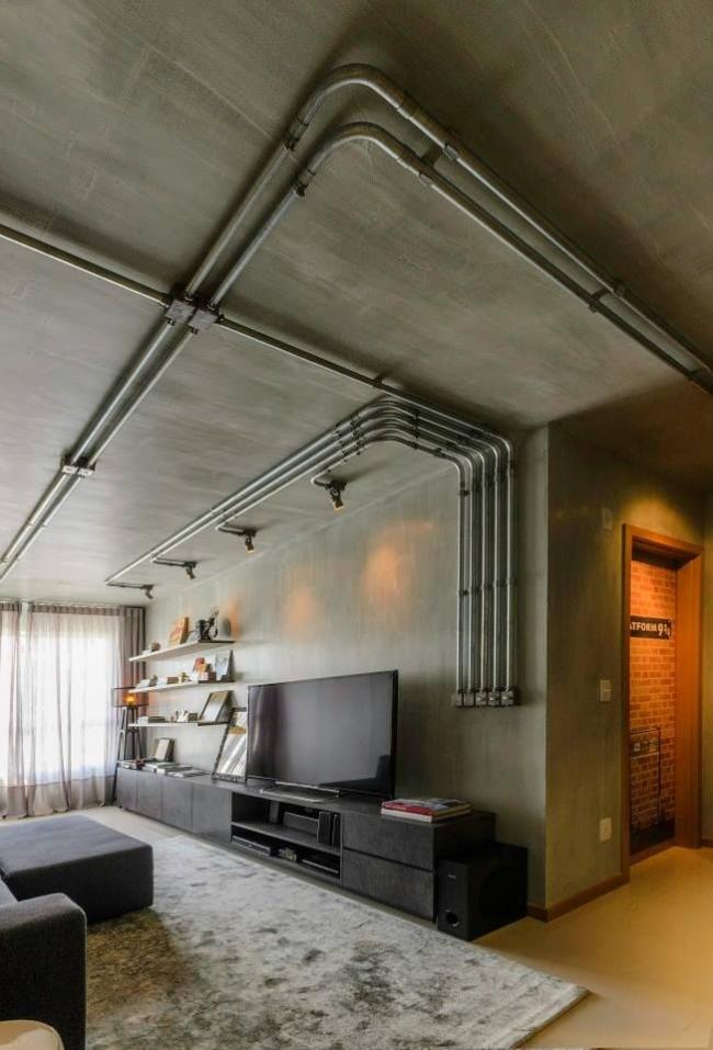 Гостиная в техно стиле с минимальным набором корпусной мебели