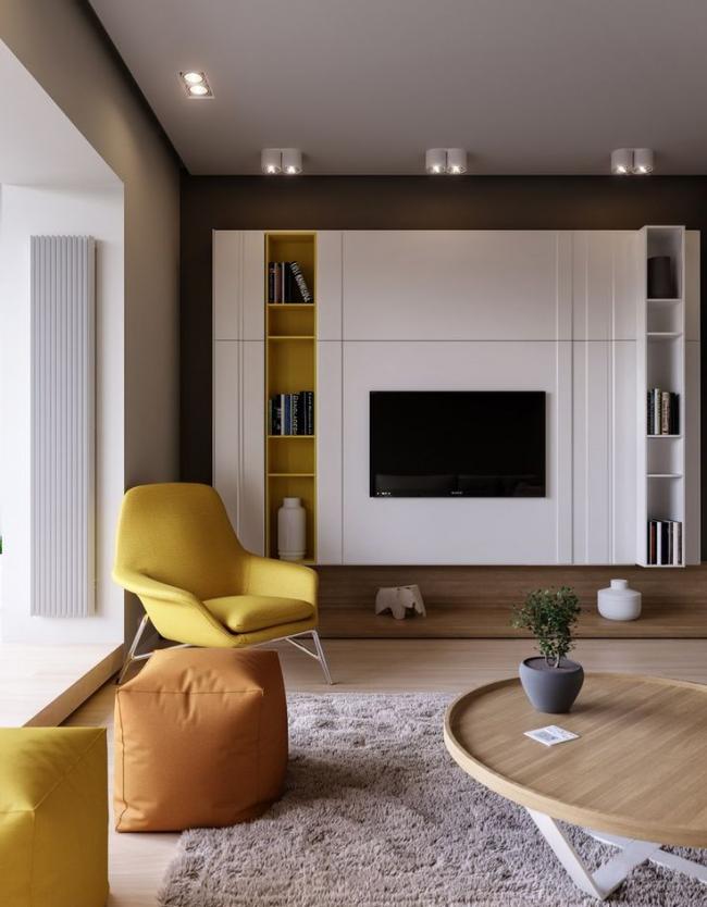Светлый шкаф с необычным местом под телевизор