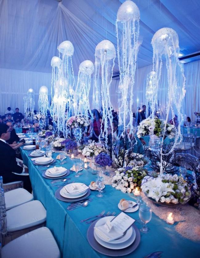Подводный мир как тема для оформления свадебного зала