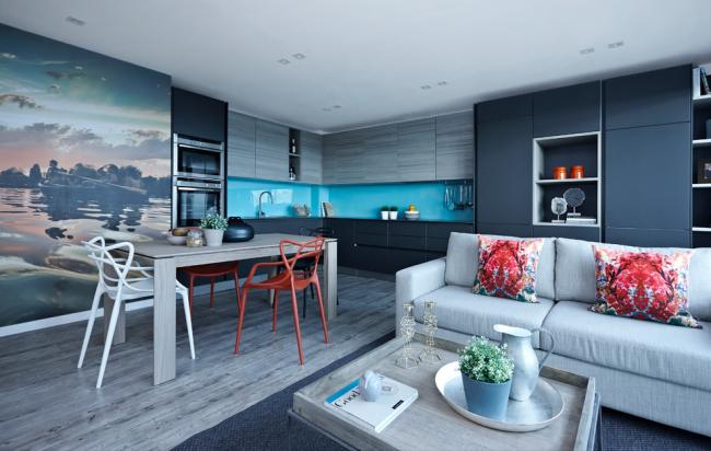Фотообои в дизайне кухонной зоны квартиры-студии