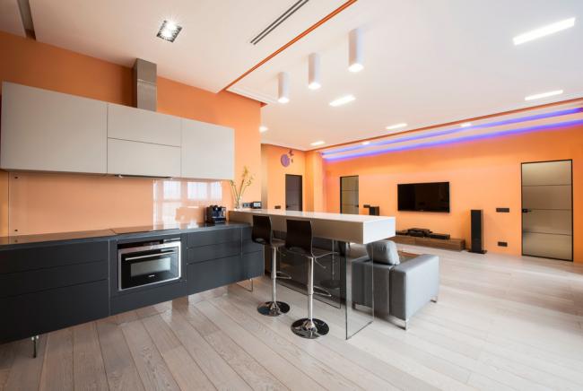 Стены персикового цвета сделают интерьер очень уютным