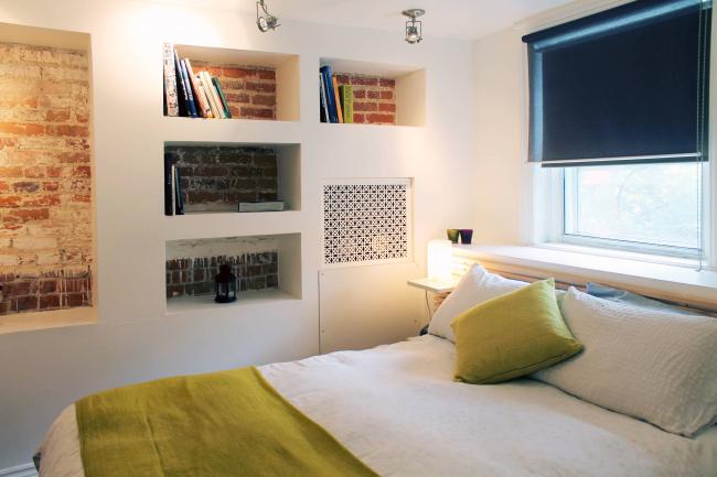 Ниши и потолок из гипсокартона в маленькойспальне