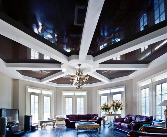 Прекрасное сочетание гипсокартонной конструкции и натяжного потолка