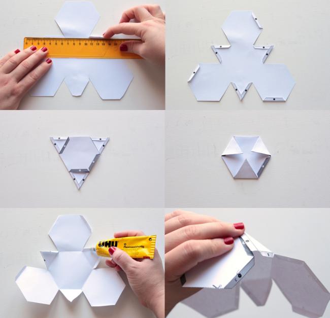Собираем формы, согласно выбранного шаблона. На фото - сборка формы по шаблону №1. Склеиваем детали