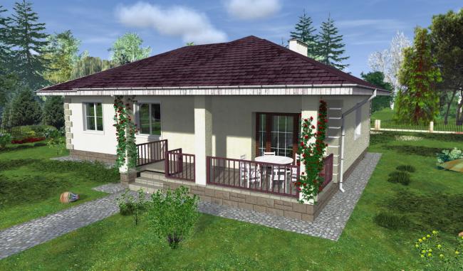Проект одноэтажного дома с открытой верандой