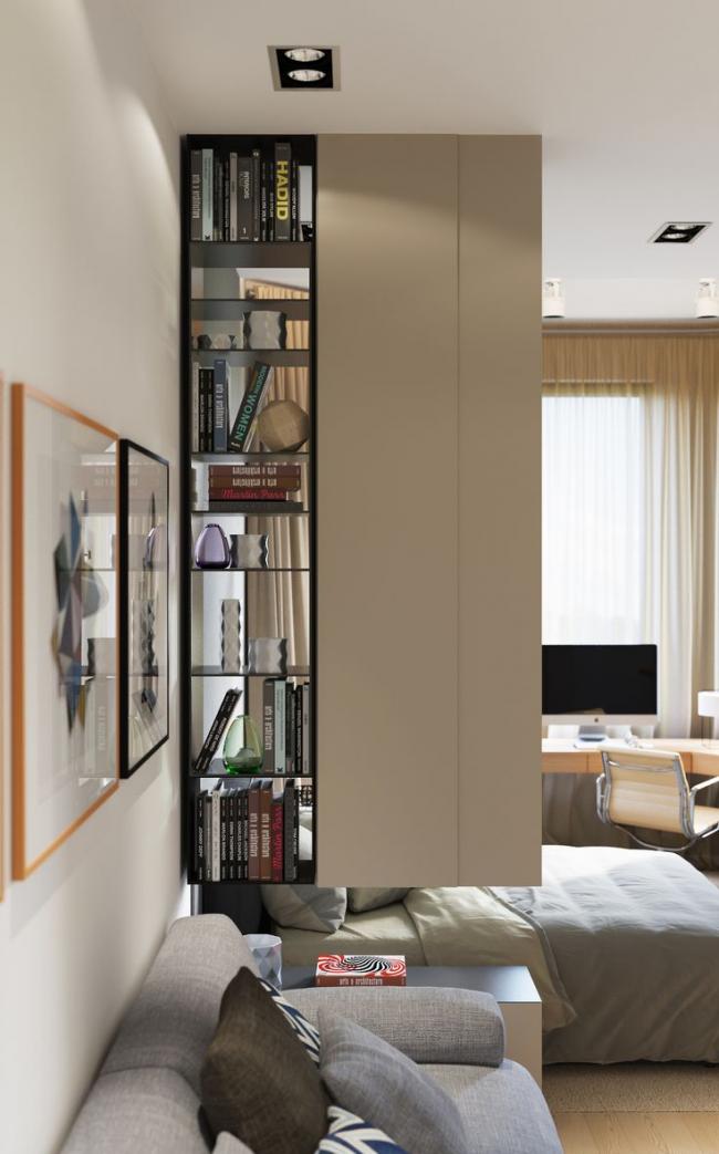 Небольшая подвесная перегородка для разделения комнаты на две зоны