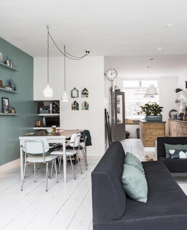 Зонирование однокомнатной квартиры с помощью цвета