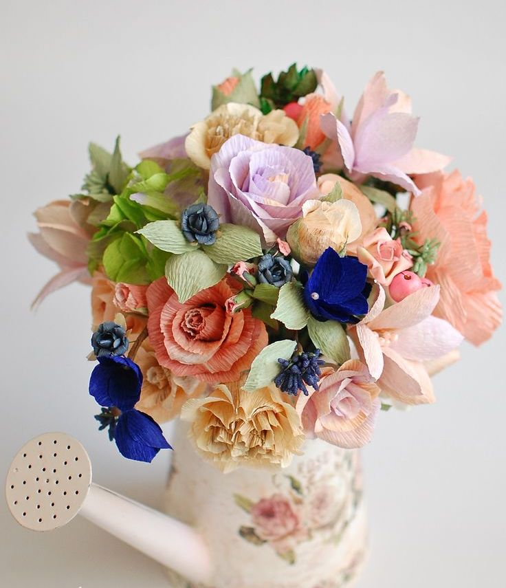 Цветы из гофрированной бумаги своими руками Мастер-класс 2017