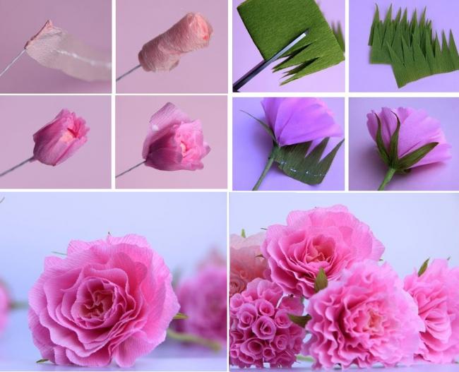 Процесс изготовления красивых бумажных роз своими руками
