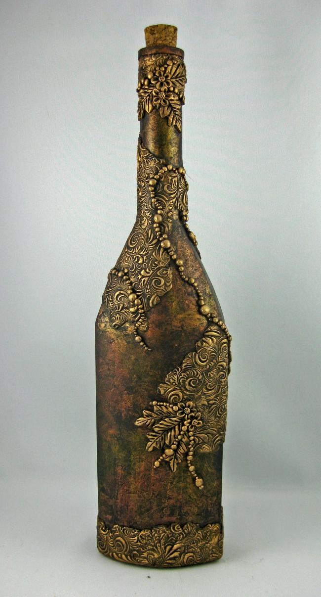 Декор бутылок своими руками: оформление бутылки лепниной ручной работы с последующим окрашиванием с эффектом старины